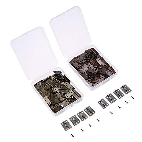 50 Uds 25 * 18mm bisagras para muebles de armario de puerta cajas de joyería de 4 orificios bisagra decorativa accesorios para muebles + tornillos + caja de almacenamiento