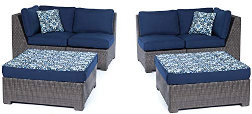 Hanover METMN6PC-G-NVY Metro Modular 6pc Set: 2 Corner Wedges, 2 Armless Chairs, and 2 Ottoman with Blue Cushions Frames Outdoor Furniture, Grey/Navy