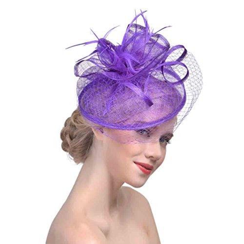 Yujeet Mujeres Transparente Forma De La Flor De La Dlor Del Sombreros Y Tocados Para Todas Las Estaciones Elegantes Plumas De La Novia Headwear Para La Boda Morado One Size
