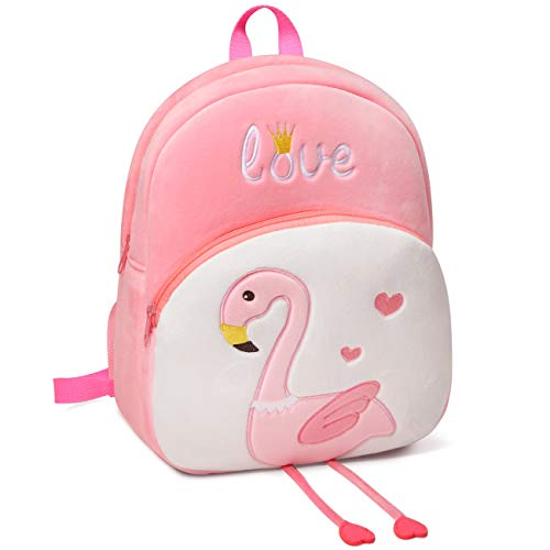 Toddler Backpack, VASCHY Girls 3D Cute Plush Small Daycare Backpack for Little Girls Pink Flamingo