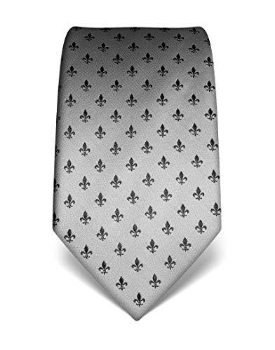 Vincenzo Boretti cravatta elegante classica da uomo, 8 cm x 15 cm, di pura seta di alta qualità, idrorepellente e antisporco, fleur-de-lis argento