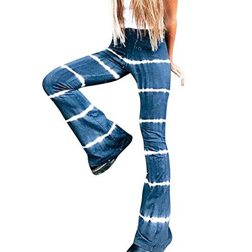 Pantalones Sueltos de Mujer con Efecto Tie Dye Pantalones Largos Acampanados Sueltos Ocasionales Pantalones Anchos de Campana (Denim Blue, XXL)