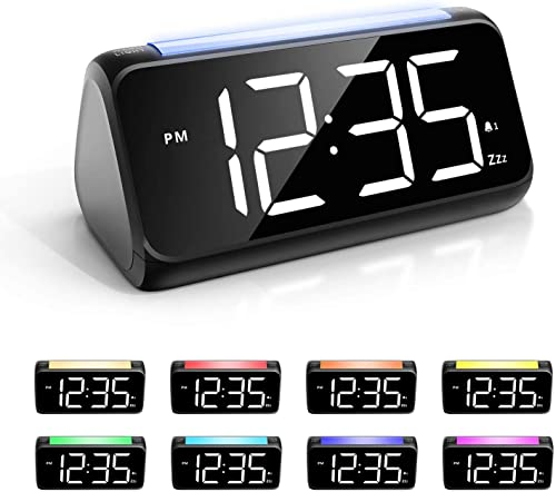 Alarm Clock for Bedrooms with Night Light, Large LED Display Big Number Digital Alarm Clock with 7 Color Night Light, Dual Alarm, Dimmer, USB Charger, Bedside Clock for Kids, Adults and Seniors