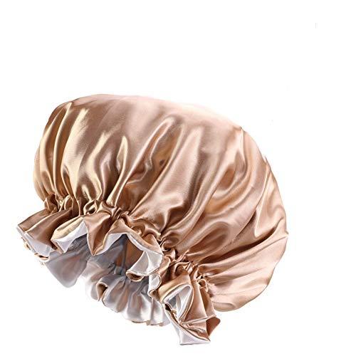 Cuffia da doccia da donna a doppio strato, riutilizzabile, impermeabile, extra large, in raso, fascia elastica in raso, per casa, hotel (kaki)