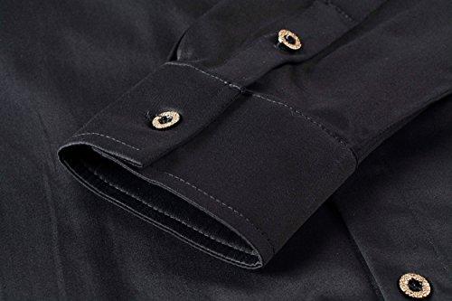 FANZHUAN Black Slim Fit Dress Shirt Club Dress Shirt for Men Casual Fashion