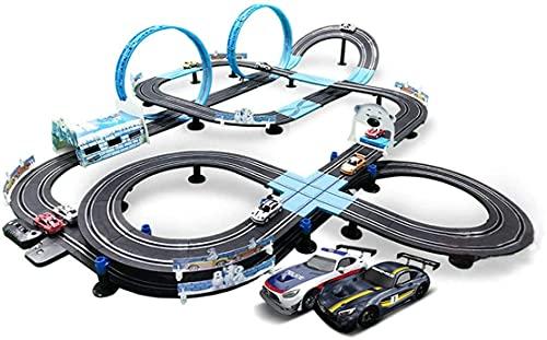 N&G Decoración para el hogar 13.5m Track Racing 1:64 Escala Modelo Rail Car Slot Car Splicing Track R/C Control Remoto eléctrico de Alta Velocidad Pista de Acero Inoxidable Vehículos Playsets (Color: