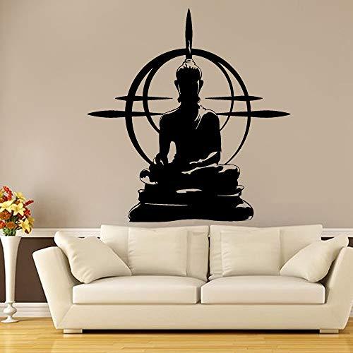 JXMN Yoga Buda Pared calcomanía Buda Rueda Mandala Mantra Rueda Yoga decoración Vinilo Pegatina Sala de Estar decoración Mural 60x64cm