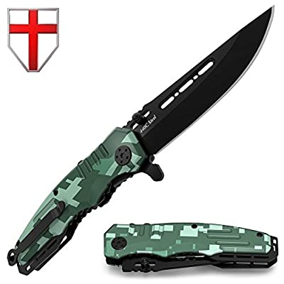 Spring Assisted Knife - Pocket Folding Knife - Military Style - Boy Scouts Knife - Tactical Knife - Good for Camping Hunting Survival Indoor and Outdoor Activities Mens Gift 6681 N