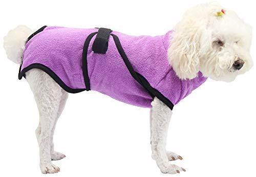 DHGTEP Albornoz de Microfibra Superabsorbente para Perros Pequeos y Grandes de Secado Rpido Toalla de Bao para Mascotas (Color : Purple, Size : M)