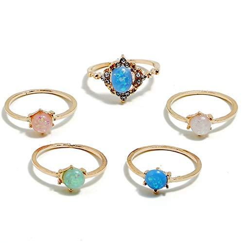 REFURBISHHOUSE Anillo Colorido Retro Bohemio Diamantes Brillantes Dulce Color De Caramelo Anillo