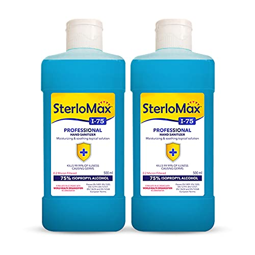 SterloMax 75% Isopropyl Alcohol-based Hand Rub Sanitizer and Disinfectant 500 ml -Pack of 2