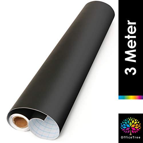 OfficeTree - Rotolo di pellicola per lavagna, 300 cm, autoadesiva, larghezza 43 cm, per scrivere e disegnare con gesso, colore nero, 1 rotolo