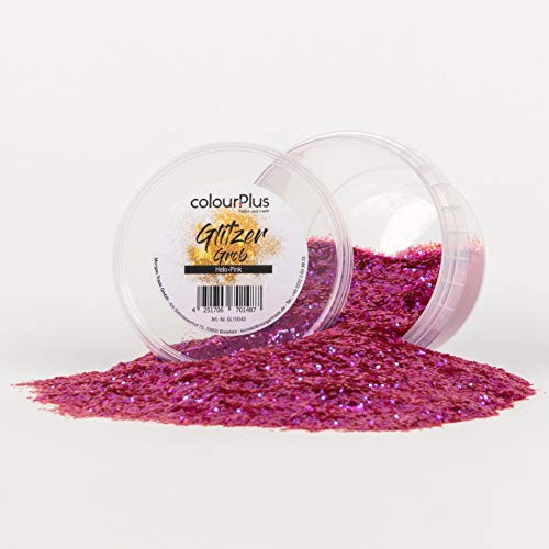 colourPlus Glitzer grob (Holo-Pink) Glitter-Zusatz zum Veredeln von Wandfarben auf Wasserbasis oder zum Basteln, Made in Germany