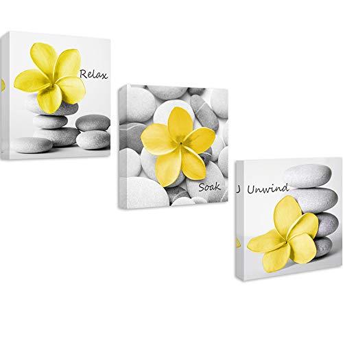 Genius Decor-Modern Yellow Gray Bathroom Wall Art Decor Zen Flowers Pictures Canvas Print Relax Soak Unwind Set of 3 (Yellow Gray)