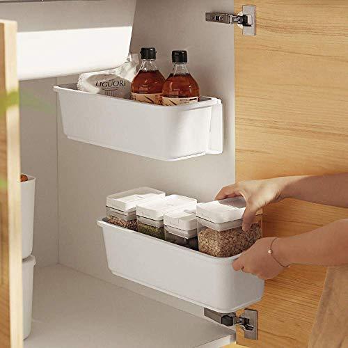 Baffect Organizzatori per cestelli estraibili da cucina, 2 pezzi, Cassetti estraibili in plastica, Cassetto per cestelli per cassetto da cucina Sottopiano da bagno (bianco)