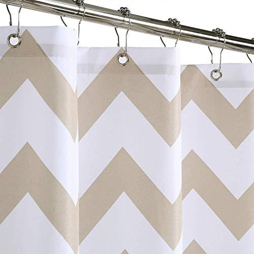 LinTimes Duschvorhänge waschbar Shower Curtain Antischimmel Wasserabweisend Waschbar DuschGardinen für Badezimmer,Natur,137x198cm