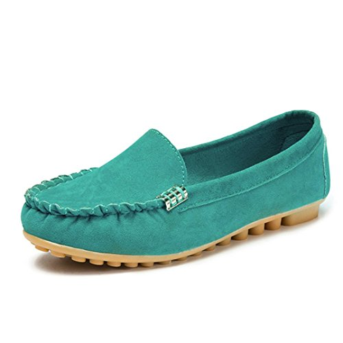 D-XinXin Lady's Plain and Comfortable Flat Shoes, Women's Flats Ladies Comfy Ballet Shoes Soft Slip-On Casual Boat Shoes (Green, 5.5)