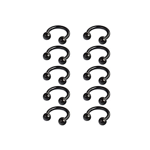 Ruifan 10PCS 16G 6mm CBR Horseshoe Circular Rings Black Titanium Anodized 316L Surgical Steel for Lip, Septum Piercing Jewelry & Cartilage 3mm Balls