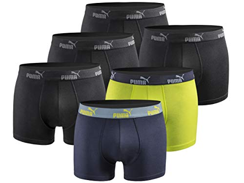 PUMA Herren Boxershort Limited Statement Edition 6er Pack - Black-Blue-Lime - Gr. XL