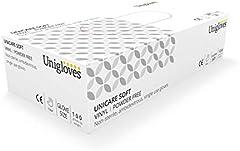 Unigloves UCV1205 - Guantes de vinilo sin polvos (tamaño extragrande, 100 unidades)
