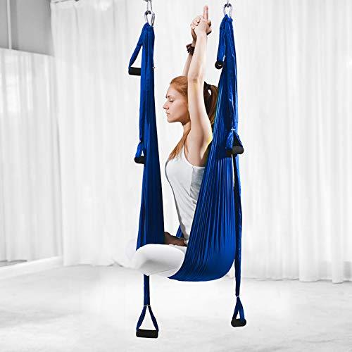 ZKLNO Hamaca Yoga Aérea Inversión para Interiores, Hamaca Fitness con Columpio Yoga, Hamaca Antigravedad Tela Paracaídas para Exteriores, Columpio Yoga Aéreo,Herramienta para Gimnasio,Azul