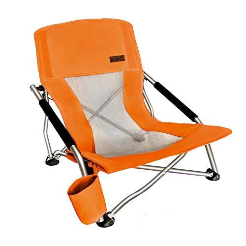 Nice C Camping am niedrigen Strand Klappstuhl, Ultralight Backpacking Stuhl mit Becherhalter & Tragetasche Kompakt & Hochleistungs im Freien, Camping (1 Packung von orange)