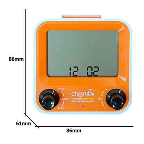 CHERUB WMT-820 Wireless Metro Tuner ORANGE Stimmgerät + Metronom + Uhr mit Alarm