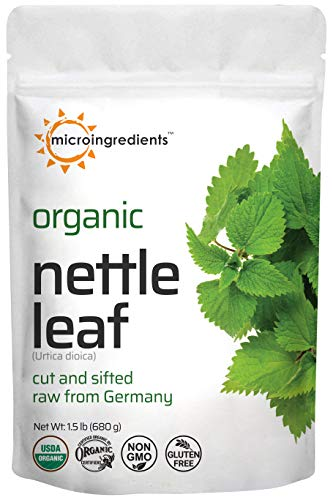 Organic Nettle Leaf, Dried Cut and Sifted, Raw from Germany, All Natural, Non-GMO, No Gluten, 1.5 Pound