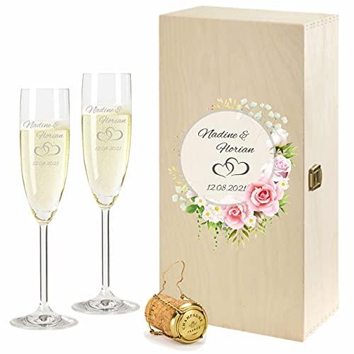 FORYOU24 2 Leonardo Sektgläser mit Vintage Geschenkbox und Gravur Paar zur Hochzeit Geschenkidee Sekt-Gläser graviert
