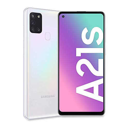 Samsung Galaxy A21s, Smartphone, Display 6.5' HD+, 4 Fotocamere Posteriori, 128 GB Espandibili, RAM 4 GB, Batteria 5000 mAh, 4G, Dual Sim, Android 10, 192 g, [Versione Italiana], White