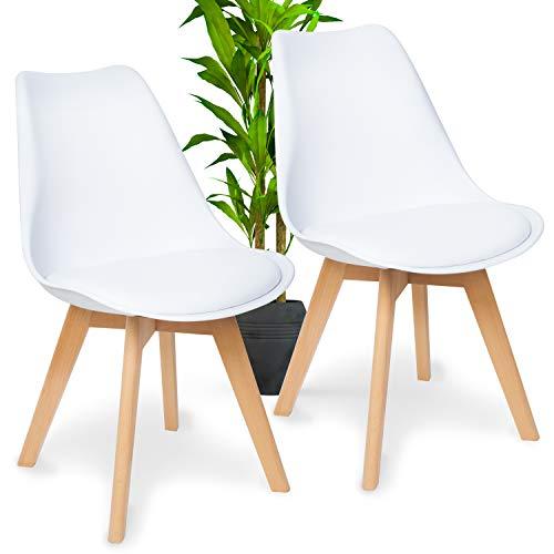 WONEA - Esszimmerstühle 2er Set mit Massivholz Buche Bein, Esszimmerstuhl grau gepolsterter Stuhl Küchenstuhl Holz mit abnehmbaren Sitzkissen leicht zu reinigen, Tulpenstuhl (weiß, 2 Stühle)