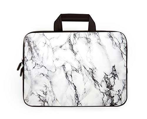 11' 11.6' 12' 12.1' 12.5' inch Laptop Carrying Bag Chromebook Case Notebook Ultrabook Bag Tablet Cover Neoprene Sleeve Fit Apple MacBook Air Samsung Google Acer HP DELL Lenovo Asus (White Marble)