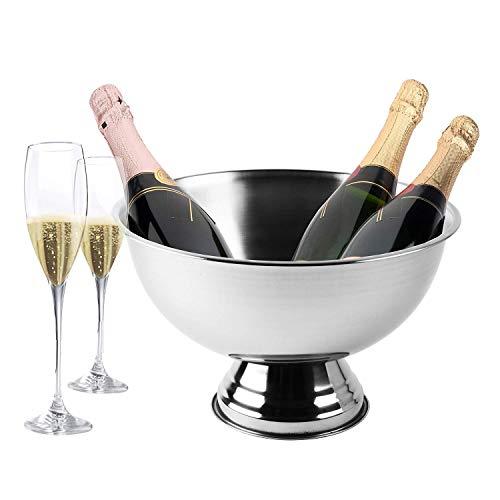 Krollmann Design Sektkühler aus Edelstahl Ø 40 cm Champagnerschale – Flaschenkühler für den edlen Genuss von Champagner, Sekt, Wein, Spirituosen, Bier und vieles mehr