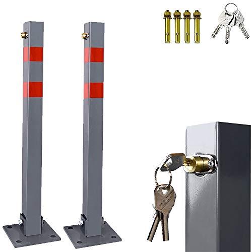 Hengda Stahl Klappbare Parkplatzsperre Absperrpfosten Parkplatzsperren Parkpfosten mit Schlüssel und Reflexstreifen Robust Standfuß Sperrpfosten Set Barrierepfosten(2 Stück)