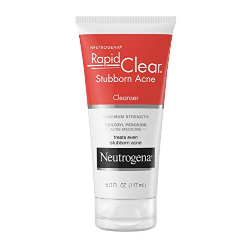 Neutrogena Rapid Clear Stubborn Acne Face Wash with 10% Benzoyl Peroxide Acne Treatment Medicine, Daily Facial Cleanser to Reduce Size and Redness of Acne, Benzoyl Peroxide Acne Face Wash, 5 Fl Ounce