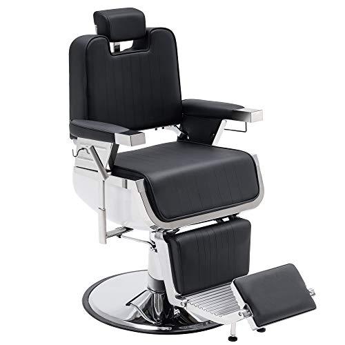 BarberPub Heavy Duty Vintage Barber Chair Hydraulic Recline Shampoo Beauty Spa Salon Equipment 3819 (Black)