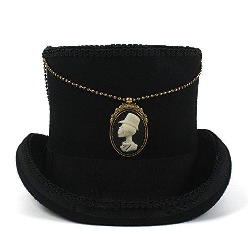 YongYeYaoBEN con la Parte Superior de la Cadena 15CM Sombrero Negro Fedora Mujeres de Lana Hombres Steampunk Sombrero de Copa Sombrero Sombrerero Loco Sombrero de Jazz Hat