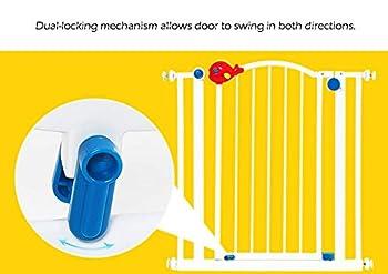 Porte de sécurité intérieure très large pour bébé avec porte pour animal domestique, se fixer à la barrière de protection d'escalier de garde-corps de rampe 78-147CM large en métal (taille: 113-119cm)