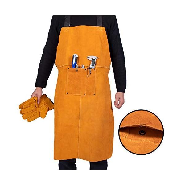 Heavy Duty Work Shop Leather Welding Apron with Welding Gloves 3