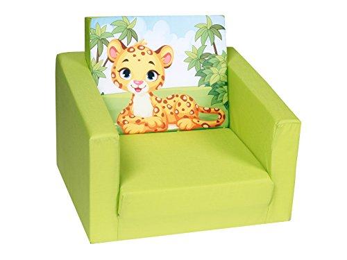 DELSIT Kindersessel zum Ausklappen Ausklappbare Kinder Sessel Baby Sessel Spielzimmer Kindermöbel für Jungen und Mädchen DSCHUNGEL Grün