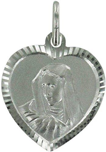 Medalla Virgen de los Dolores de plata 925 con forma de corazón - 1,9 cm
