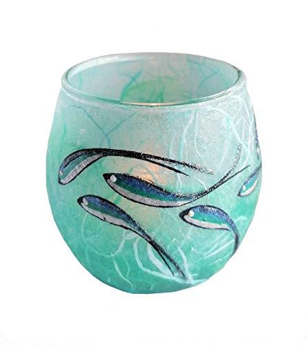 Ocean Fish votive tea light candle holder, hand painted on blue and turquoise Strawsilk, Handmade in Devon UK by Tim Lee
