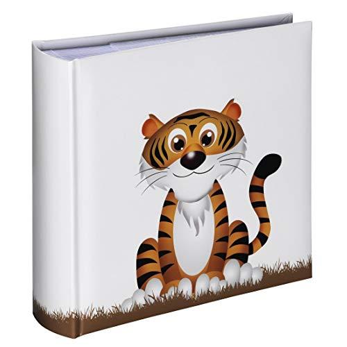 Hama Einsteck-Fotoalbum Liam, Memo-Album mit 100 Seiten, zum Einstecken von 200 Fotos im Format 10x15, Tiger-Motiv, 22,5x22,5cm, Einsteckalbum Fotobuch weiß