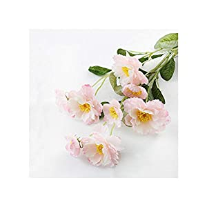 Misscany 1 Branch 6 Colors DIY Artificial Flowers Rosemary Two Silk Flower Fake Plant for Wedding Home Party Decoration,Pink