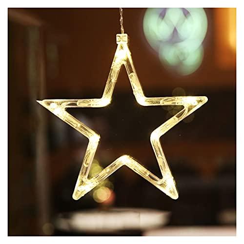 Fensterbeleuchtung Weihnachten Batterie, Weihnachtsbeleuchtung mit Saugnapf, Weihnachten Dekorative Fenster Licht für Outdoor Indoor Fenster Schlafzimmer Party (Stern)