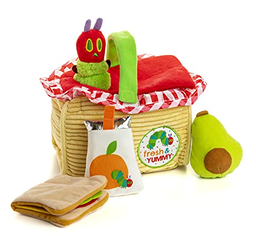 picnic items for kids KIDS PREFERRED World of Eric Carle The Very Hungry Caterpillar Picnic Basket Playset, Multicolor, 55721