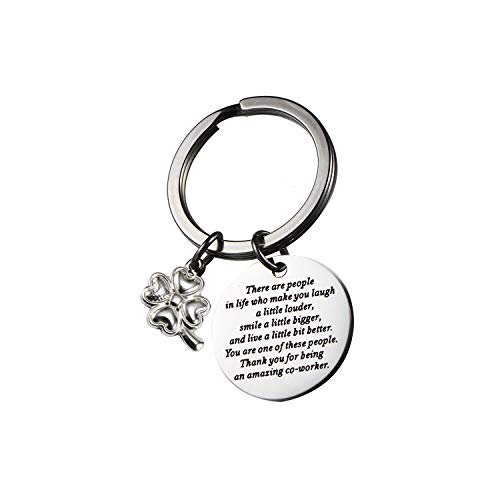 Coworker Leaving Gifts for Colleague Friends Boss Goodbye Keychain with Four-leaf Clover for Coworkers