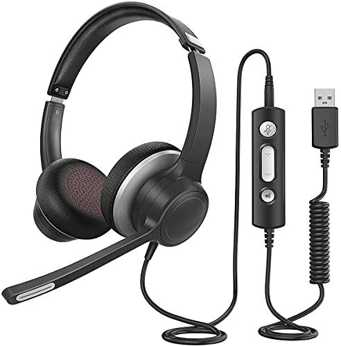 Cuffie USB 3.5 mm per Computer con Microfono, Cuffie Business Leggere con Scheda Audio per La Riduzione del Rumore Controllo in Linea per Skype MS Team Zoom PC Cellulare