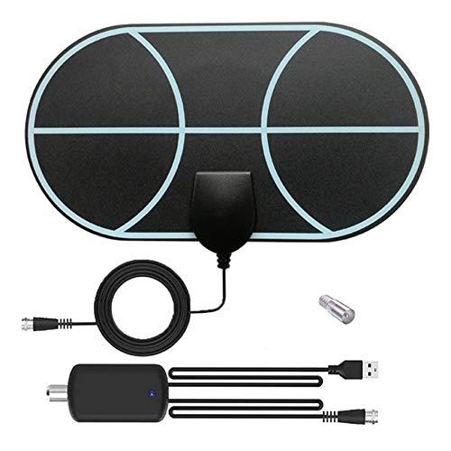 Rpanle Antena TV Interior, Antena TV portátil HD TV Digital 120 Millas con Amplificador de Señal Inteligente para Canales de TV Gratuitos Soporte 4K 1080 HD/VHF/UHF, Duraderos y Resistentes