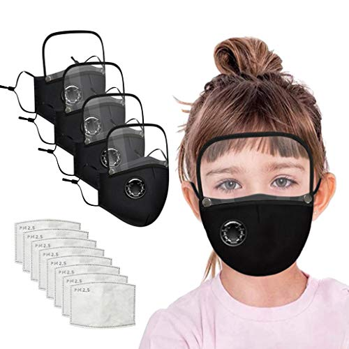 Face Bandanas with Breathing Valve + Detachable Eyes Shield + Activated Carbon Filter Replaceable Haze Dust for Adults and Kids (4 macks + 8 filters, Kid Black)